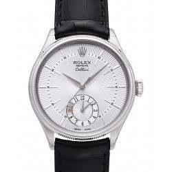 Rolex Cellini Dual Time Silver Guilloche/Hour Markers Leather 50529
