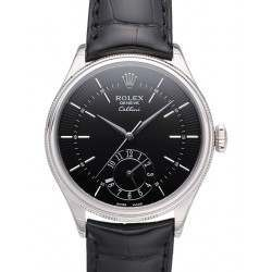 Rolex Cellini Dual Time Black Guilloche/Hour Markers Leather 50529