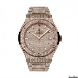 Hublot Quartz King Gold Bracelet Full Pave 581.OX.9010.OX.3704