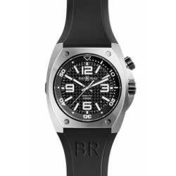 Bell & Ross BR02-92 Steel Fiber and black crocodile leather strap