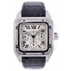 Cartier Santos 100 XL Diamond Covered (afterset)