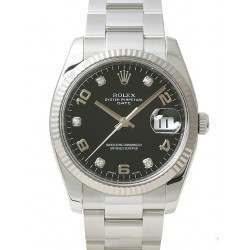 Rolex Date Black Arab 5 diamond Oyster 115234