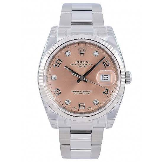 Rolex Date Pink Arab 5 diamond Oyster 115234