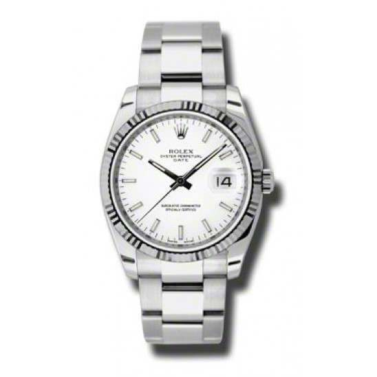 Rolex Date White/index Oyster 115234
