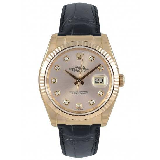 Rolex Datejust 36mm Everose Gold Pink/Diamond Leather 116135