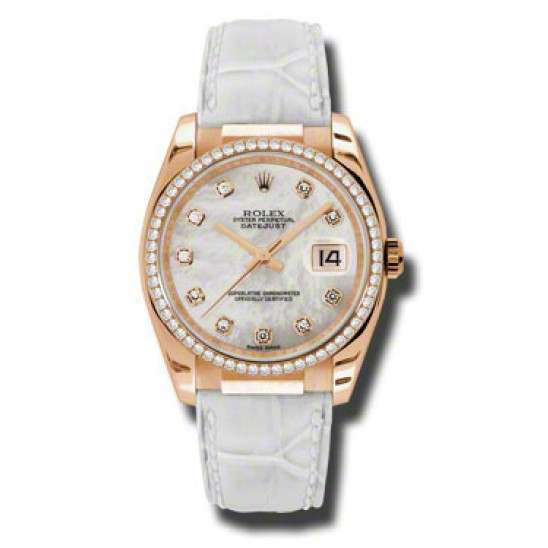 Rolex Datejust 36mm Everose Gold White mop/Diamond Leather 116185