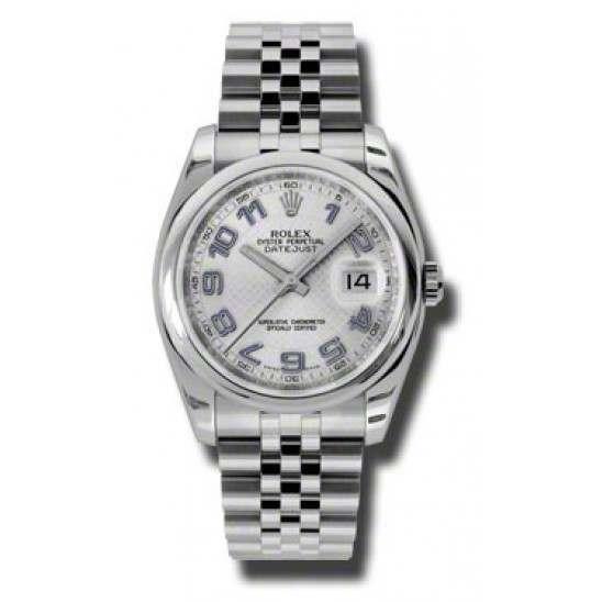 Rolex Datejust Silver Decorated Arab/Blue Jubilee 116200