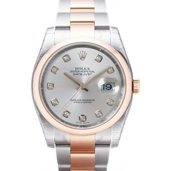 Rolex Datejust Silver/Diamond Oyster 116201