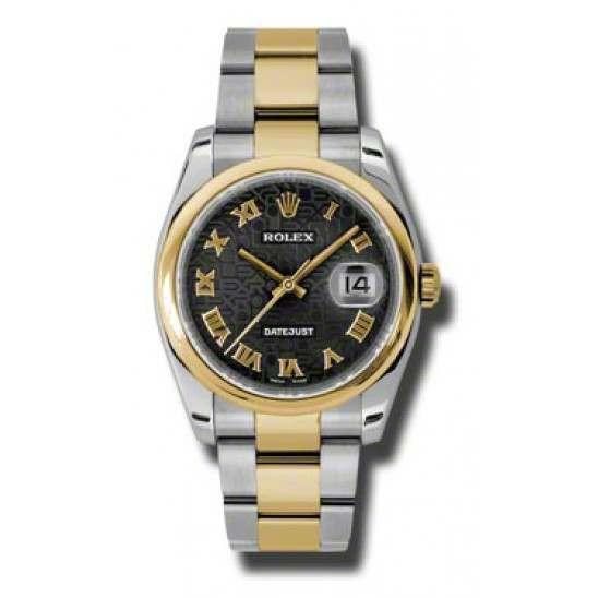 Rolex Datejust Black Jub Roman Oyster 116203