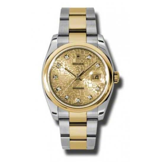 Rolex Datejust Champagne Jub/Diamond Oyster 116203