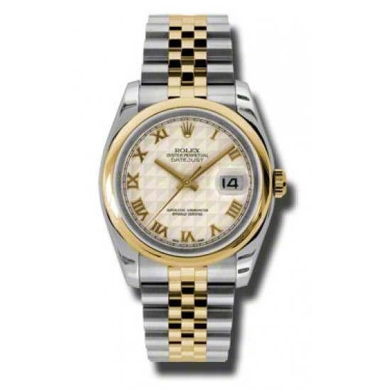 Rolex Datejust Ivory Roman Pyr Jubilee 116203