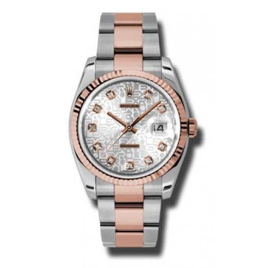 Rolex Datejust Silver Jub/Diamond Oyster 116231