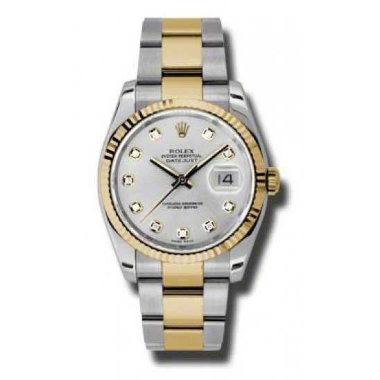 Rolex Datejust Silver/Diamond Oyster 116233