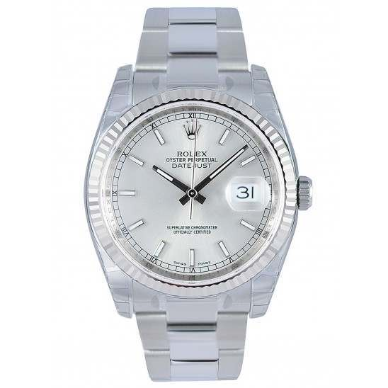Rolex Datejust Silver/index Oyster 116234