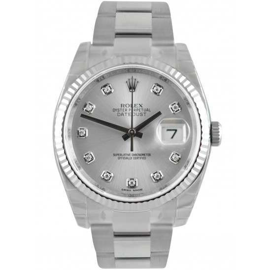Rolex Datejust Silver/Diamond Oyster 116234