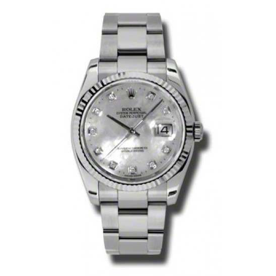 Rolex Datejust White mop/Diamond Oyster 116234