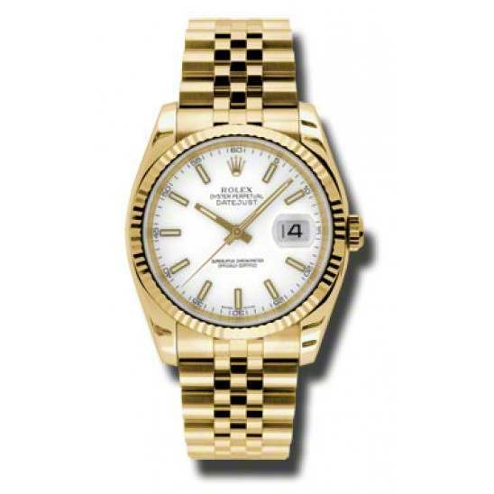 Rolex Datejust 36mm Yellow Gold White/index Jubilee 116238