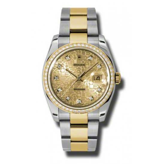 Rolex Datejust Champagne Jub/Diamond Oyster 116243