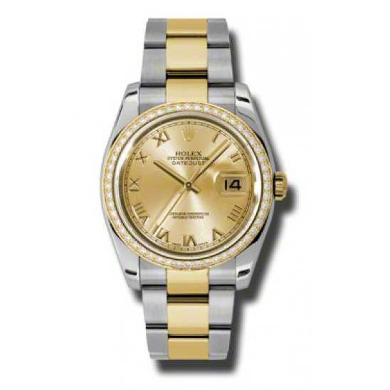 Rolex Datejust Champagne Roman Oyster 116243