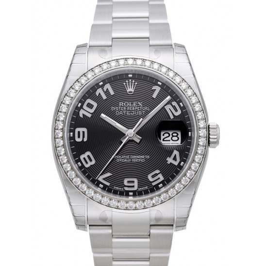 Rolex Datejust Black Arab Concentric Oyster 116244