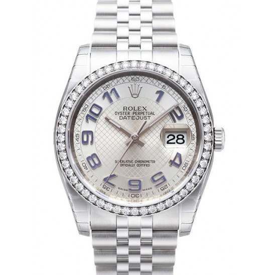Rolex Datejust Silver Decorated Arab/Blue Jubilee 116244