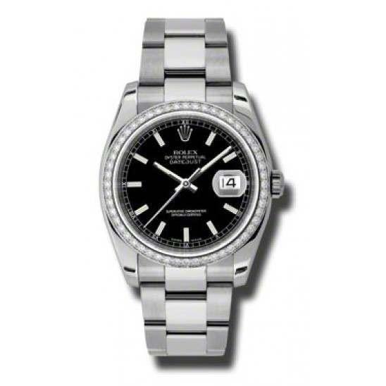Rolex Datejust Black/index Oyster 116244