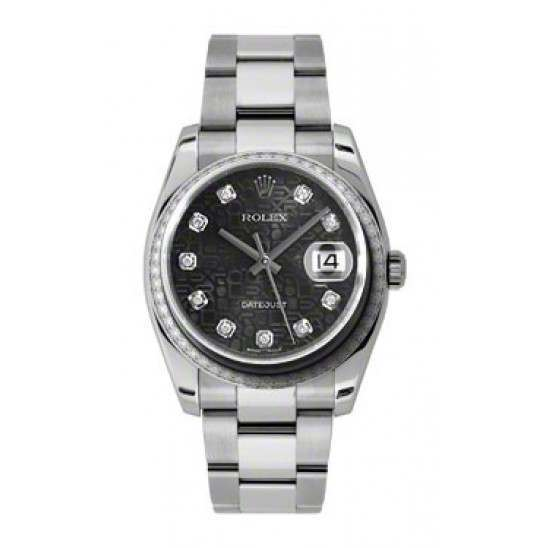 Rolex Datejust Black Jub/Diamond Oyster 116244