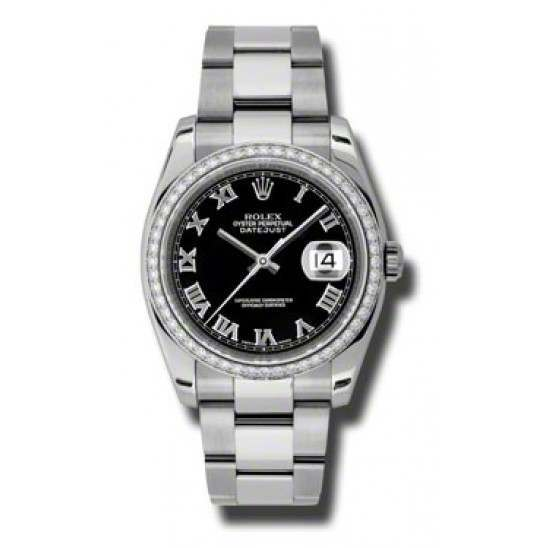 Rolex Datejust Black Roman Oyster 116244