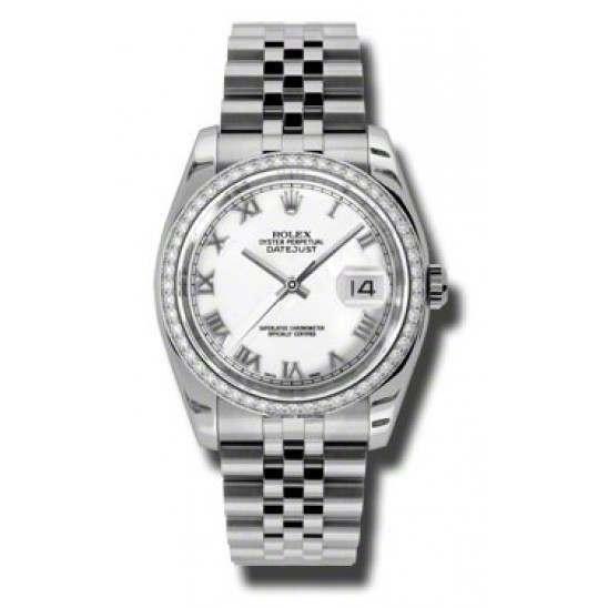 Rolex Datejust White Roman Jubilee 116244
