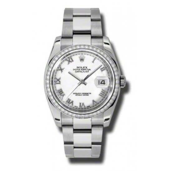 Rolex Datejust White Roman Oyster 116244