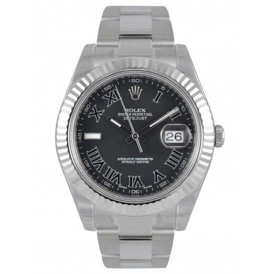 Rolex Datejust II Black Roman Oyster 116334
