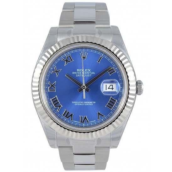Rolex Datejust II Steel&Gold Azzuro Blue Roman Oyster 116334