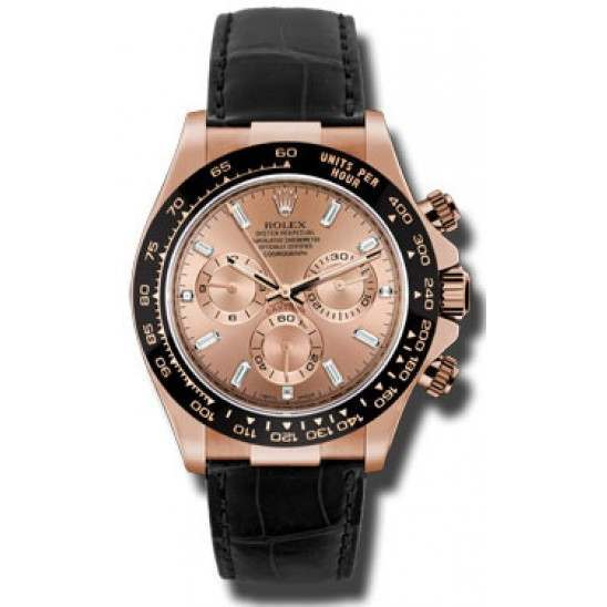 Rolex Cosmograph Daytona Everose Pink/ Diamond Dial Leather 116515LN