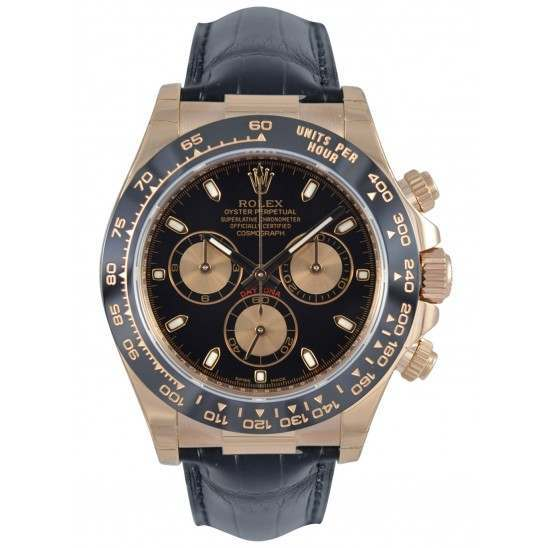 Rolex Cosmograph Daytona Everose Black Dial Leather 116515LN