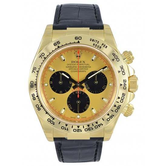 Rolex Daytona Yellow Gold Champagne-Black/index Leather 116518