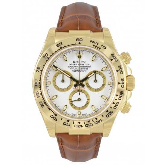 Rolex Cosmograph Daytona 18ct Yellow Gold White/index Leather 116518