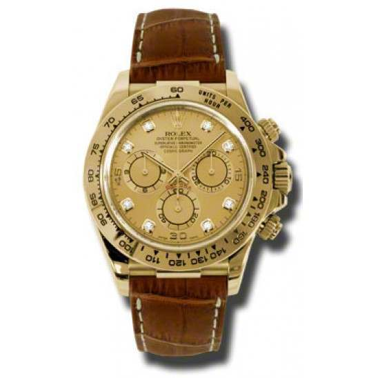 Rolex Cosmograph Daytona Champagne/8 Diamond Leather 116518