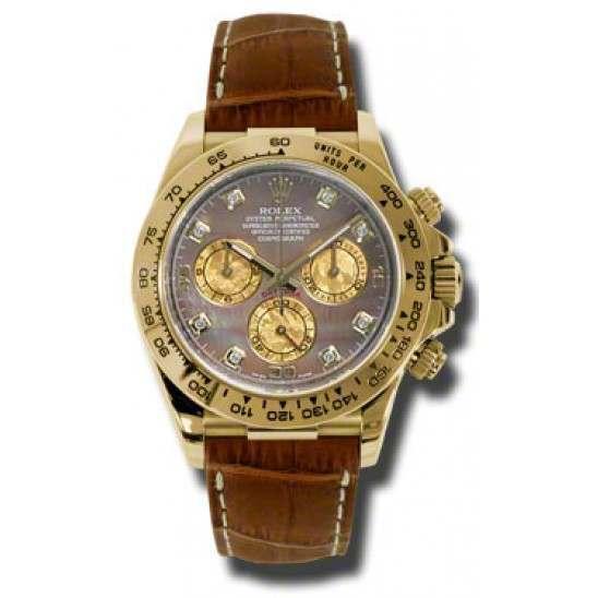 Rolex Cosmograph Daytona Gold Crystals/8 Diamond Leather 116518