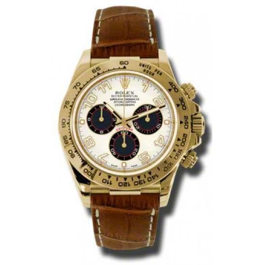 Rolex Cosmograph Daytona Yellow Gold White-Black Arab Leather 116518