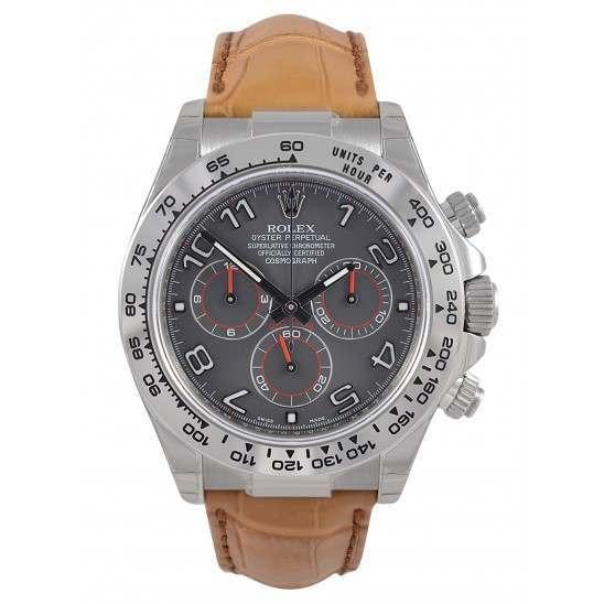 Rolex Cosmograph Daytona 18ct White Gold Slate Arab Leather 116519