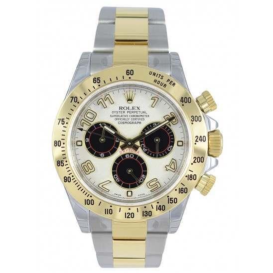 As New Rolex Cosmograph Daytona Steel & Gold White-Black 116523