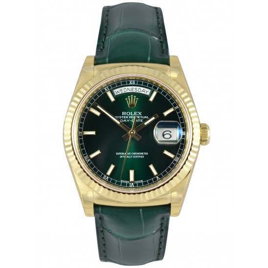 Rolex Day-Date Green/index Leather 118138