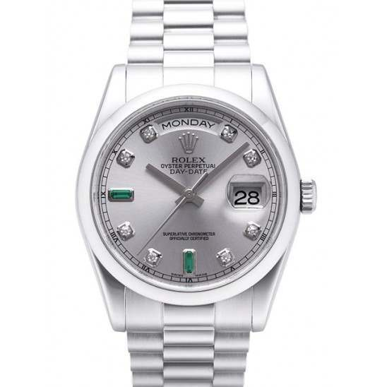 Rolex Day-Date Rhodium/Diamond & Emeralds President 118206