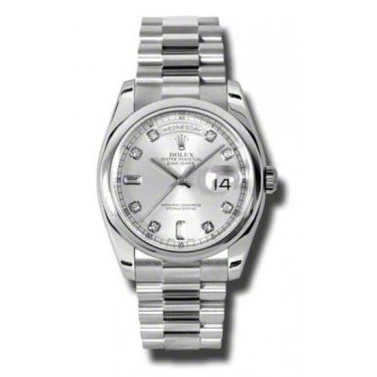 Rolex Day-Date Silver/Diamond President 118206