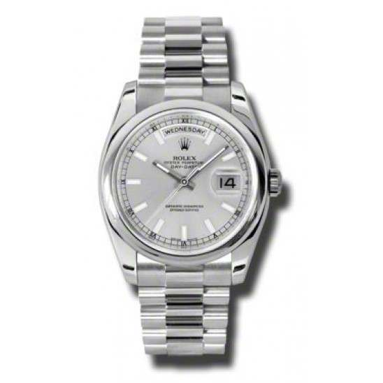 Rolex Day-Date Silver/index President 118206