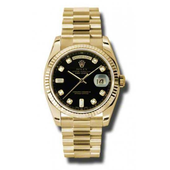 Rolex Day-Date Black/Diamond President 118238