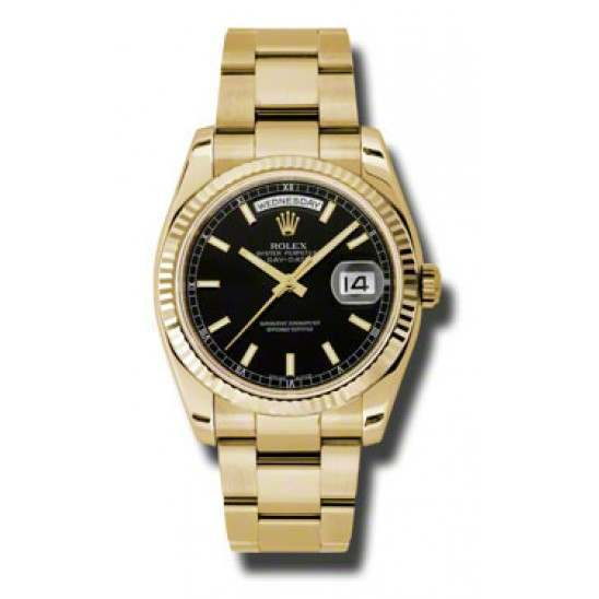 Rolex Day-Date Black/index Oyster 118238
