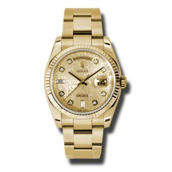 Rolex Day-Date Champagne Jub/Diamond Oyster 118238