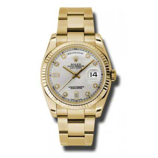 Rolex Day-Date Silver/Diamond Oyster 118238