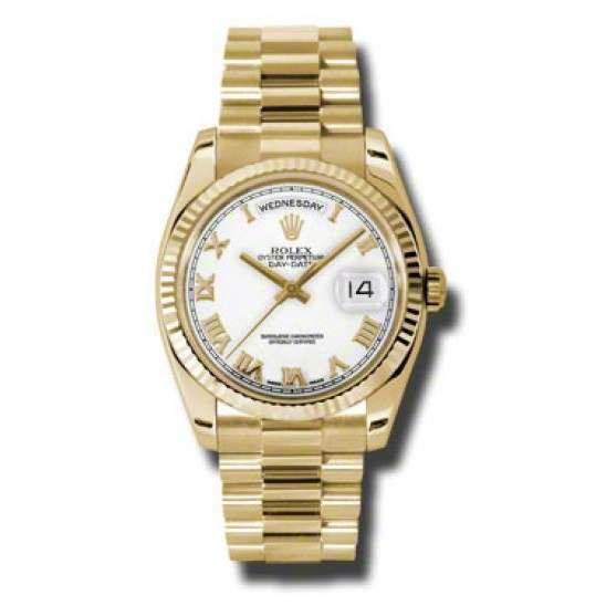 Rolex Day-Date White Roman President 118238
